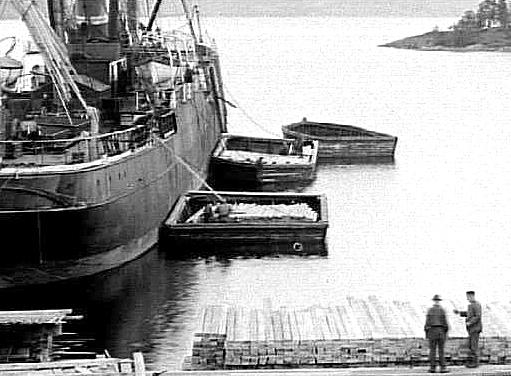 Utlastning av trävaror från ön den 14 september 1899